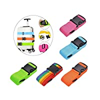 TsLinc Luggage Straps 5 Pack Adjustable Suitcase Belts Travel Packing Belt with Buckle Closure Baggage Security Straps 5 Colors