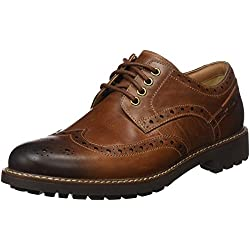 Clarks Montacute Wing 203517867 - Zapatos de cordones de cuero para hombre, color marrón (Dark Tan Leather), talla 42
