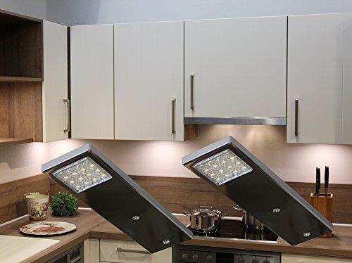 LED Unterbauleuchten 2-er Set / Chrom / Lichtfarbe warm weiß / Art. 2070-2 / Möbelbeleuchtung / Design Beleuchtung / Küchenbeleuchtung / Messebau / Ladenbau / Komplettset mit LED Netzteil Schalter Steckverbindung und Befestigungsmaterial