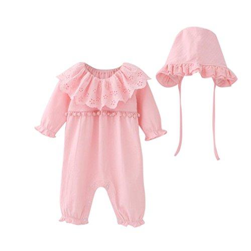 Bekleidung Longra Neugeborenes Baby Mädchen Strampler Bodysuit Jumpsuit Kleidung Set + Mütze Hüte Baby Langarm Overall Spielanzug Babykleidung (0-18Monate) (60CM 6Monate, Pink)