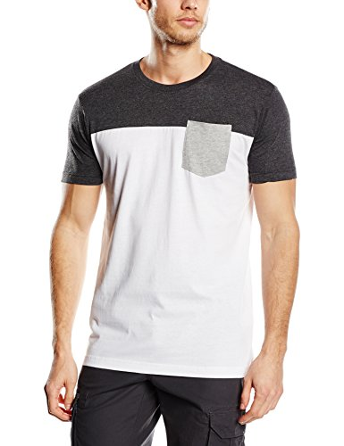 Urban Classics TB969 Herren Langarmshirt T-Shirt 3-Tone Pocket Tee Mehrfarbig (Wht/Char/Gry) Medium (Pocket T-shirt Sleeve Short)