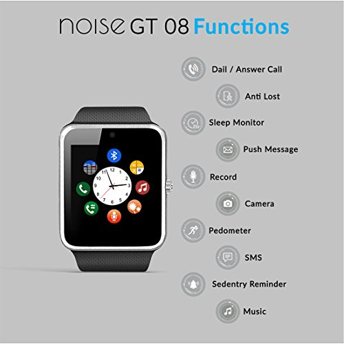 Noise Digital Silver Dial Unisex Smart Watch with Sim Card Slot and Camera (GT08-SMARTWATCH-SILVER)