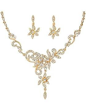 EVER FAITH® österreichische Kristall Blume Blätter elegant Damen Schmuck-Set grau Gold-Ton N05221-1