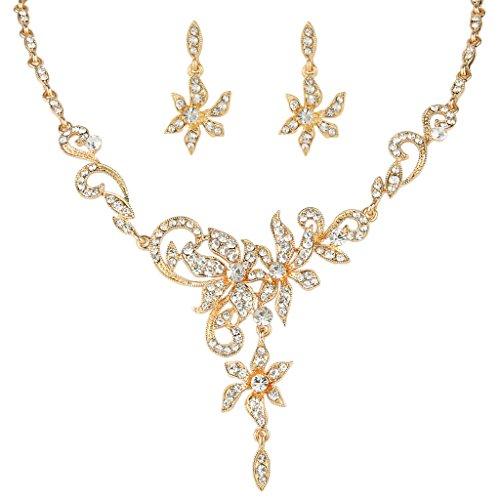 EVER FAITH® österreichische Kristall Blume Blätter elegant Damen Schmuck-Set grau Gold-Ton N05221-1 -