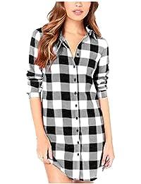 ZANZEA Camisa Cuadros Blusa Casual Elegante Oficina Algodón Botones Mangas Largas para Mujer