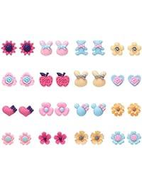 16 pares de pendientes para niñas, hipoalergénicos, variados diseños de flores y animales