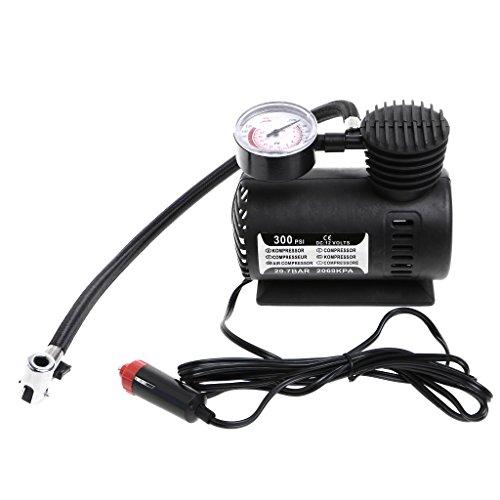 FlowerPEI - Mini compresor de aire portátil multifuncional de 300 PSI 12 V bomba infladora eléctrica...