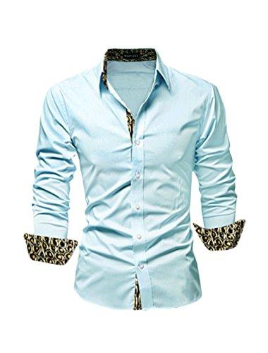 M (US 38) , Light Blue-snakeskin-effect : Allegra K Men Long Sleeves Prints Button Down Slim Fit Shirt