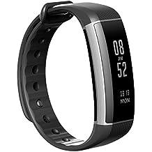 HOUSON - Brazalete de fitness, Smart Fitness Tracker Sport Watch Bluetooth 4.0Smartband IP67,resistente al agua, Touch Screen, pulsera de actividad fitness, con cuentapasos / contador de calorías / monitor de dormir / despertador / llamadas SMS / medición de frecuencia cardíaca en la muñeca para iPhone IOS, Android