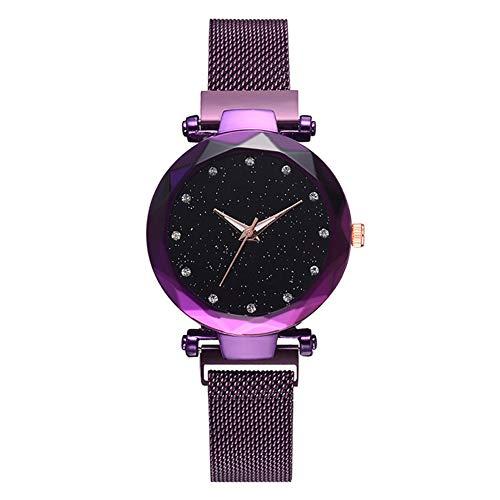Warmiehomy Damen Armbanduhr mit Sternenhimmel Zifferblatt und Magnet Armband Damenuhr Ø34mm analoge wasserdichte Japanische Quarzbewegung Uhren für Frauen