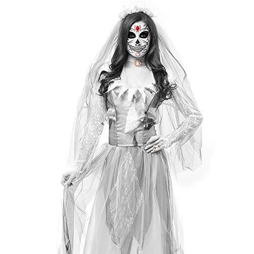Party Kostüm Braut Stadt - ZHANGMEI Halloween Damen Kostüm Zombie Braut Kleid Vampir Gruseliger Kleid Cosplay,Weiß,M
