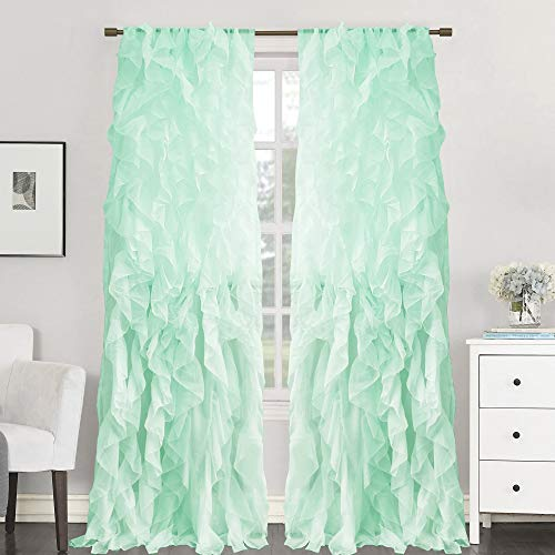 Sweet Home Collection 2 Pack Window Treatment Sheer Cascading Panel Vertical Ruffled Curtains in Many Sizes and Colors, 84
