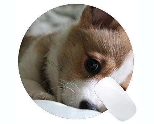 Yanteng Customized Runde Mauspad, Hipster Hund Tragen Farbe Corgi Rutschfeste Gummi-Mauspad Gaming Mouse Pad