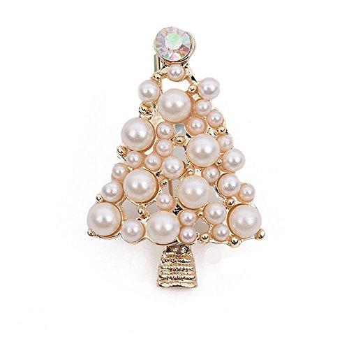 uen Silber überzogene glänzende Brosche Perle Weihnachtsbaum Brust Abzeichen Brosche Schmuck Kleidung Accesory Dekoration für Geburtstagsgeschenk ()