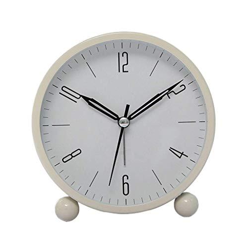 LH's stores Wecker Moderne minimalistische Metall Wecker Schlafzimmer Mini Silent Bedside kleine Wecker mit Nachtlicht Uhr Alarm Schlummer (Color : White, Größe : 10.5 * 11CM)