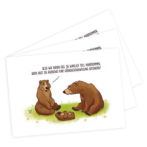 3er Set Babykarten zur Geburt originell und witzig, Karte zur Geburt Junge oder Mädchen, Glückwunschkarte Geburt, Tiere, Bären Karte, Design von katz & tinte