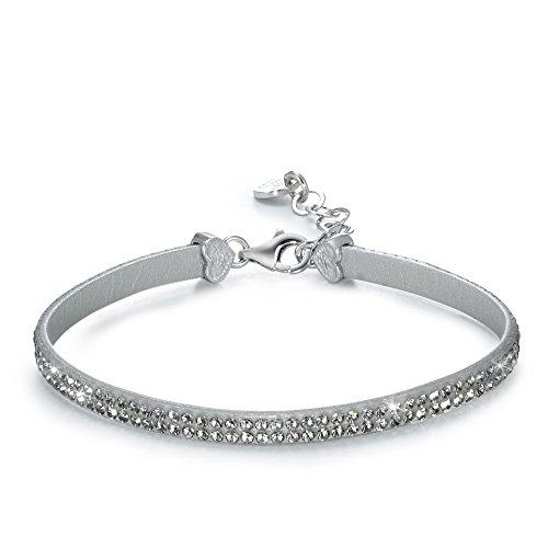 Armband Leder, Silber, Silikon Swarovski Crystal rhodiniert, Beschichtung: rhodiniert, Breite: 4 mm, Farbe: grau, Verschluss: Karabiner, Zielgruppe: XVision