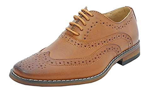 Boys Tan Brown Leather Lined Lace Up Smart Brogues Shoes Size 11