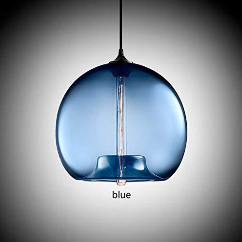 6 Farben Glas Ball Deckenleuchte Haushalt Anhänger Kronleuchter Leuchten, blau -