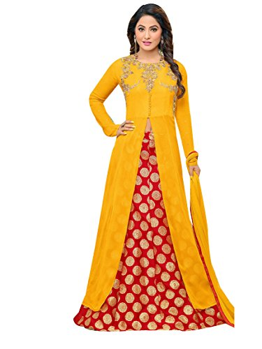 FFASHION Women's Georgette Dress Material (FF-YELLOWHEENA_Free Size_Yellow)