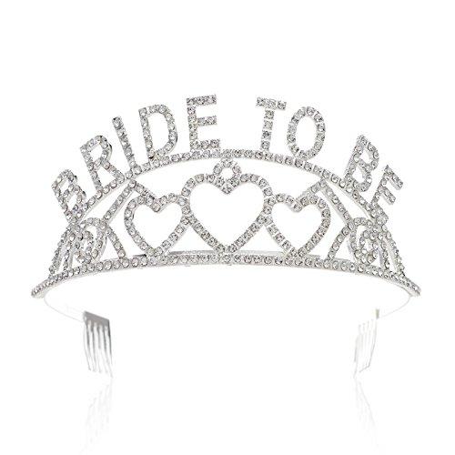 SWEETV Bride To Be Corona Tiara Diadema Tocado - Futura Novia – Fiesta de Despedida de Soltera, Transparente