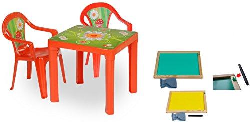 Woodega - Kinder Gartengarnitur Tisch Stühle Kombi- Set mit Whiteboard Tafel +Stifte, Rot (Rasen Sitzgelegenheiten)