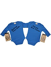 SR - Gift Boxed Before Ask Yes We Twins Organic Baby Twins Set - Baby Twins Babygrow Set - Baby Twin Gift - Baby Twins