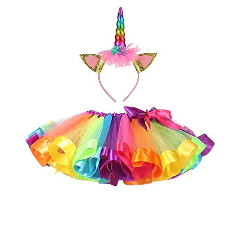 MFEU Mädchen Kinder Regenbogen Kostüm Set, Regenbogen Pettiskirt Ballett Bowknot Rock Tutu Set, Einhorn Haarreif Haarband Kostüm für Tanz Party Karneval,M<4-6 Jahre - Niedliche Kostüm Für 11 Jahre Alt