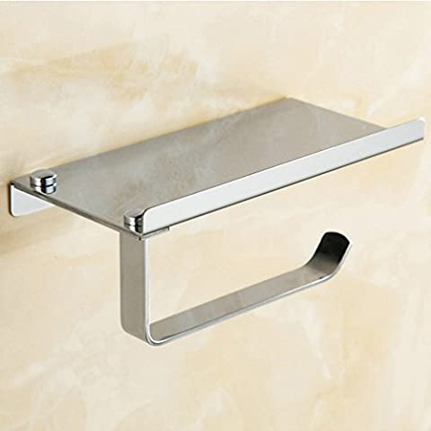 Multifunción montado en la pared acero inoxidable estante soporte de rollo de papel higiénico, Roll Holder