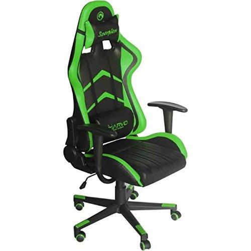 Marvo CH-106GN Professioneller Gaming-Stuhl ideal für jede Spielesessions | Verstell- und abnehmbare Rücken-/Nackenstütze - Schwarz/Grün