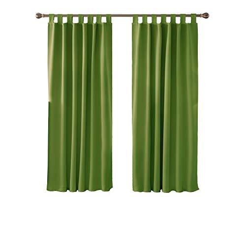 Deconovo Vorhang Blickdicht Schlaufen Vorhang Kinderzimmer Gardinen Schlafzimmer 175x140 cm Apfelgrün 2er Set