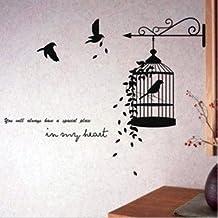 Vinilo decorativo pegatina pared, cristal, puerta (Varios colores a elegir)- pajaros y jaula