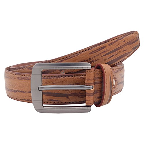 Snoby Tan/Brown Leatherette For Men Long Brown Pattern Curved Edge Buckle Belt