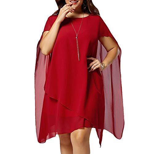 Zottom Frauen Kleider, Beiläufiges festes Chiffon- Loses O-Ansatz Sleeveless Knie-Länge Kleid ❦Freizeitkleider -