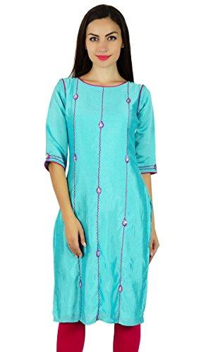 Bimba kurta bleu kurti 3/4 perlé blouse ethnique indien tunique brodée à la main bleu aqua