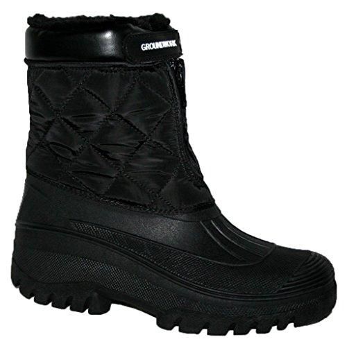 Schwarz Schnee Stiefel (Erwachsene Wasserdicht Sole Pelz Liniert Regen Schnee Ski Mucker Stiefel Größe 3-8 - unisex-erwachsene, Schwarz, 39 EU)