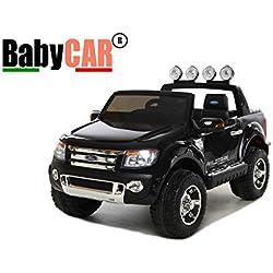 Coche eléctrico para conducir BABYCAR FORD RANGER JEEP 12 v negro con mando a distancia para el control remoto