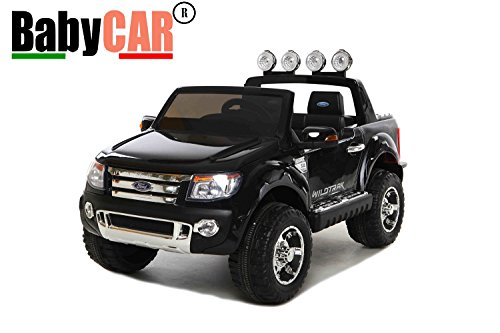 Babycar 550n - Auto Elettrica Jeep Suv Ford Ranger Full Optional con Telecomando, 12 Volt, Nero