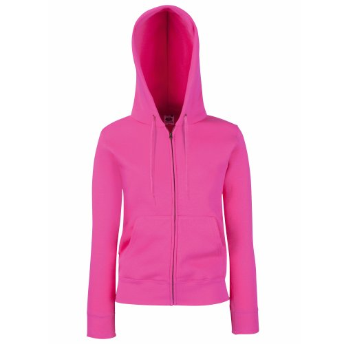 Fruit Of The Loom Lady-Fit Damen Kapuzenjacke / Sweatshirt-Jacke mit Kapuze Fuchsia