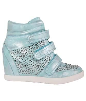 14945-AQU-4: Diamante High Heel Wedge Hi Top Fashion Trainers Ankle Boots Shoes