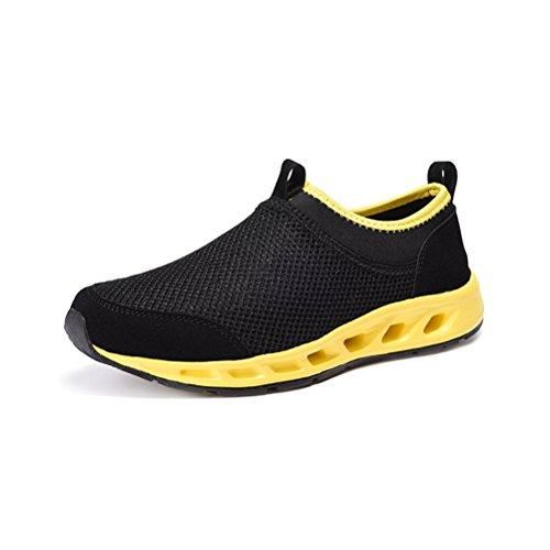 Lässige Unisex Erwachsene Sportliche Schnürsenkel Mesh Gitter Slip-on Bequeme Flache Atmungsaktive Sneakers Gelb