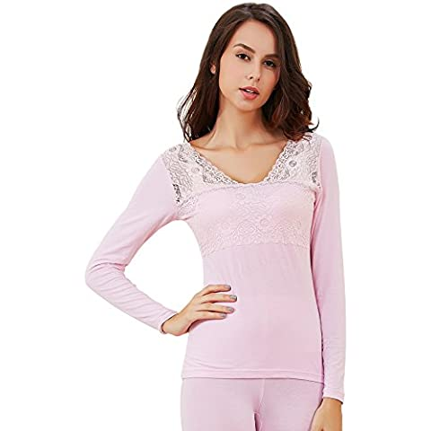 ZHANGYONG*La sig.ra autunno e inverno abbigliamento autunno autunno pantaloni di cotone pizzo sottile di leader di partito basato intimo termico Kit , sono codice , la luce rosa