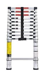 Trebs 21163 Teleskopleiter aus Aluminium, rutschfest, 11 Sprossen, höhenverstellbar 93 cm bis 320 cm, Belastbarkeit 150 kg, EN131