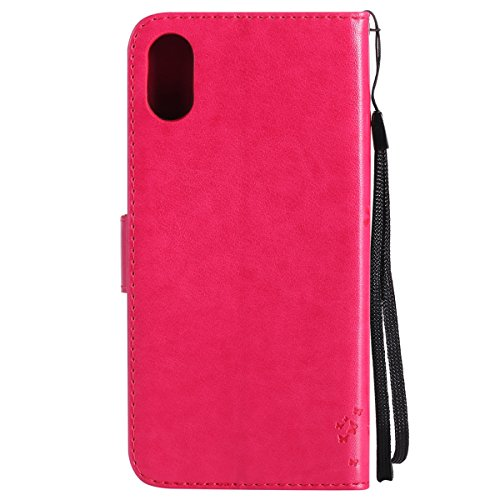iPhone X Custodia in Pelle, Cover Custodia Per iPhone X, JAWSEU Retro Colore solido [Shock-Absorption][Anti Scratch] Wallet PU Leather Folio Case Cover per iPhone X Custodia Portafoglio con Super Sott Albero e gatti, Rosa Caldo