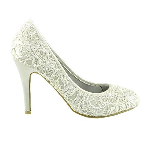 Kick Footwear - Donna Abito Damigella d'onore di Alta Tacco Partito delle Donne Scarpe di Corte Bianco
