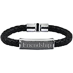 Gemshop Silver Plated 'Friend' Strand Bracelet For Men