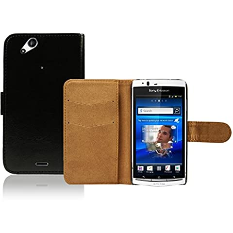 Sony Ericsson Xperia Arc S / Arc X12 Premium Leder Flip Case - Schwarz Pu Leder Schutz Hülle Brieftasche Case Für Sony Ericsson Xperia Arc S - thinkmobile