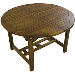 Mesa de jardín Extensible 120/180 cm de Madera Teca | Redonda | Madera Teca Grado A | Tamaño: 120/180x77 cm | Tratamiento al Agua aplicado | Portes Gratis