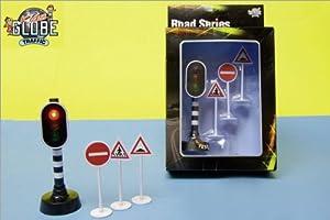 Alpha Toys Road Series - Luces de tráfico con 3 señales de tráfico