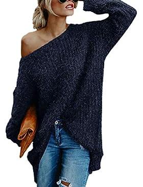 Edited Mujer Jerséis Moda Suéter Largo Casual Jersey Prendas de Punto de Cuello Barco Batwing Mangas Largas Camiseta...